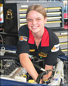 Nerang?s Sara Marsh, 16, is just as much at home working under the hood of a car as on the runways when she?s modeling.