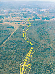 With a $245 million bill you?d think the road was going to be paved with gold. The planned route of the Bonville Bypass looking
