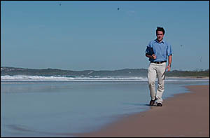 Keep Australia Beautiful projects manager Peter McLean walks along Pippi Beach, Yamba.