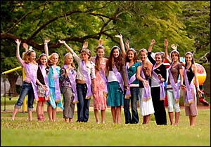 Junior Jacaranda party members from left Morgan Holt, 13, Samantha Crameri-Miller, 12, Kahlia Payne, 12, Temika Konemann, 11, K