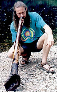 Tynon Bradford demonstrates the didgeridoo and tells of how it may help against sleep apnoea. The Grafton Community College is