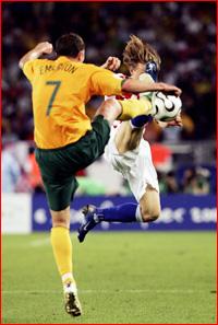 Socceroo Brett Emerton goes in high against Croatia. Pic: Robert Cianflone