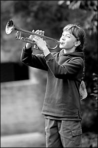 Woolgoolga Public School?s Dylan Baskett gets in some last minute practice before playing her trumpet at the Sydney Opera House
