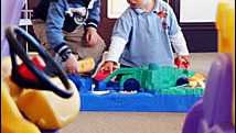 The new toy library gets the thumbs up from local toy testers, Jacob Child, left, 3, of Coutts Crossing and Bradley Hollett, le