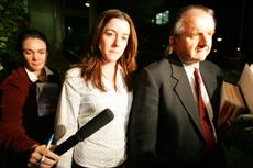 KEEPING MUM: Natasha Ryan, flanked by solicitor Paul Wonnocott.