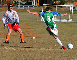 A Bobcats players about to let fly with a strike against Lennox Head on Saturday.