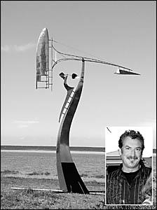This kinetic steel and alumimium sculpture has won a major award for Coffs Harbour sculptor John Van Der Kolk (inset).