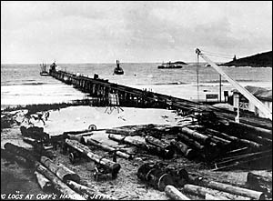 Loading timber at Coffs Harbour?s hardwood timber jetty circa 1919.