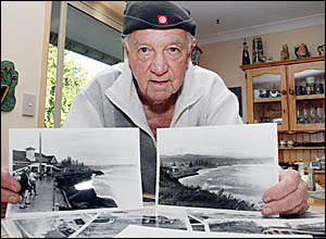 HISTORIAN Bill Stafford with old photos showing the way southern Gold Coast beaches used to be prior to walls and sand dredging