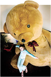 The giant bear is the mascot for this weekend?s Tea With Teddy Show at the Coffs Ex-Services Club.