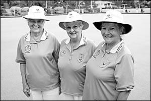 Sawtell?s champions in major triples, from left, Noela Watt, June Wetkin and Denise Faugeras.