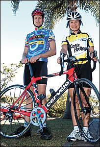 Local cyclists Daniel Alcock and Vanessa McDonald