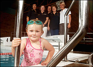 Promoting water safety are, front, Alanis O?Mahony, 4, with swimming instructors at Grafton Lifestyle Centre, back left, Sharon