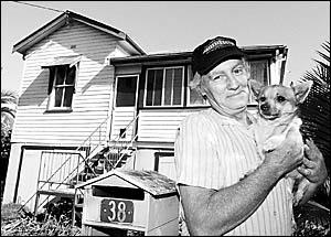ARRG volunteer Paul Slessor outside his house with Peppy.