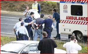 A 27-year-old man is apprehended after a police chase. Pic: SCOTT FLETCHER