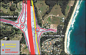 The RTA?s plan is for a motorway running along the Coffs Coast (in red) for through traffic, with a parallel service road for l