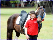 Sarah Caust and her pinto mare Breeze.