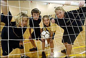 oBANORA Point High School Futsal (indoor soccer) players Daniel Sutherland, Jessie Skelly, Mikaila Hansen-Lee-Leong and Matt Mo