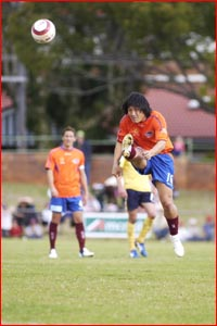 Queensland Roar's Hyuk-So Seo shoots for goal. Pic: SCOTT FLETCHER