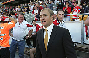 St George Illawarra coach. Nathan Brown is sorry for his outburst against NRL referee Steve Clark that cost his club $15,000.Ph