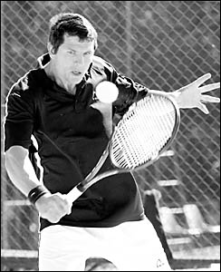Sydney?s Simon Causley plays a backhand shot  in the Sawtell RSL Seaside Open tennis tournament held on the weekend at Sawtell
