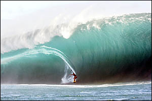 Tahitian surfer Manoa Drollet rode what is believed to be the largest wave ever surfed at Teahupoo, Tahiti.