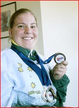 Sybilla Austin with the medals she won at last year's World Cerebral Palsy Games. Image: Kevin Farmer