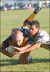 The Magpie defence struggles to hold out the Marist Brothers attack at Maclean Showground on Saturday.