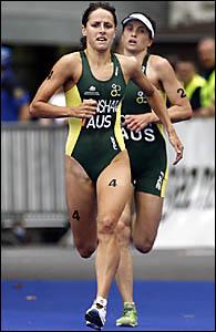 Australia?s Erin Densham, front, sprints to win the U23 women ITU Triathlon World Championships, ahead of Emma Moffatt in Lausa