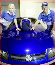 Morgan and Denis Whiting with their new Monaro.Pic KEVIN FARMER