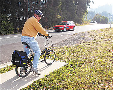 Tad Soroczynski reaching the end of his Sawtell Road bike track. The Sawtell resident says Coffs Harbour cycleways should link