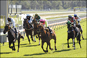 Lava To Rock (centre), ridden by Brad Stewart, wins the second race at Coffs Harbour yesterday. Photo:CHRIS RIX