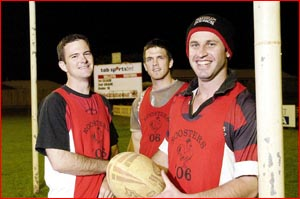 Valleys Rugby League players James Galligan (left) , Nathan Murphy and Gus McKellar are set for tomorrow's grand final.