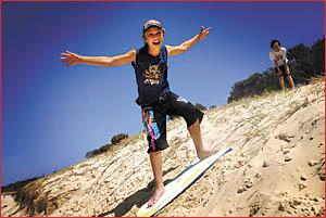 Ayden Baloh was one of many beachgoers at Sawtell.