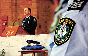 Superintendent Peter Barrie addresses police officers.