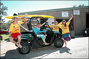 Red Rock-Corindi Surf Life Savers Grant Madden, Samantha Brown, Jessie Edgar, Matanne Doughney and Lacey Hansen can?t wait for