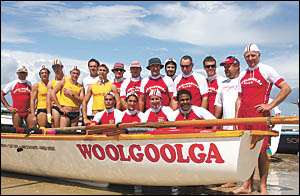 The old-timers and the young guns . . . a mixed bag from Woolgoolga?s 2006 surf boat crew. Pictured (back l to r) David Baker,