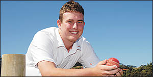 Six of the best . . . Diggers Ex-Services bowler Brendan Murphy finished his bowling spell with figures of six for six off six
