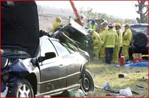 Six people injured in this crash on the Gore Highway. Pic: Neville Madsen
