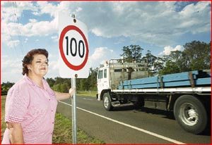 Lyndal Johns will change a 100km/h sign at Highfields to 80km/h.  PIC: BEV LACEY