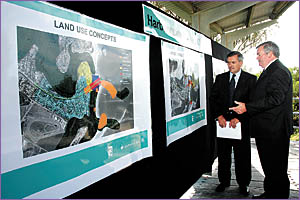 NSW Lands Minister Tony Kelly and Coffs Harbour mayor Keith Rhoades inspect the new Harbour plan now up for public comment.