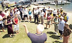 WE WILL BE HEARD:  Commodore John Last addresses the crowd who turned out to object to the boat ramp.