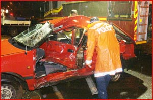 The young female driver of this car died after a collision at last night. Picture: NEVILLE MADSEN