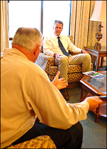 NSW Nationals leader Andrew Stoner, right, meets with Clarence Valley Council mayor Ian Tiley.