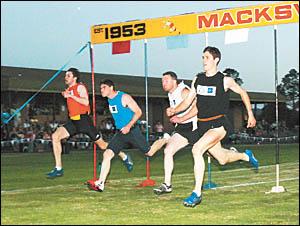 Historic trifecta . . . coach John Henry claims the first three Macksville Gift placings with Matt Hargreaves (black), Matt Cal