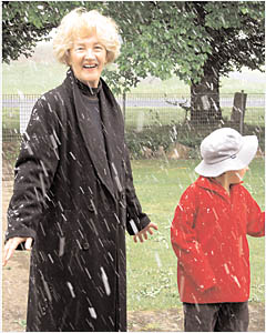Despite the cold, Ebor Public School teacher Mrs Betty Noad and student Ryan Munday had a great time catching snow flakes ye