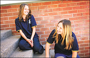 Making a stand on climate change... Coffs Harbour High School students Leah Varley, left, and Adele Finch.