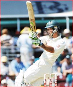 Australian captain Ricky Ponting pulls the ball to the boundary on his way to 137 not out. Picture: AAP IMAGE