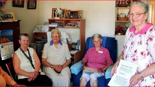 Residents Arthur Matthews, Beverly White, Lilian Cooper, Maud Hanrahan, Vera Bath and John Battaglini. Picture: BEVERLEY LACEY