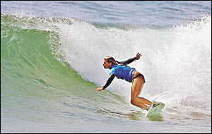 Mullaway surfer Angela Keighran, pictured, is off to a good start at the Quiksilver Australian Grommet Titles.